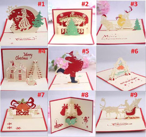 Belles cartes de Noël 3D Pop Up Joyeux Noël série Santa's Handmade Custom Greeting Cards Cadeaux de Noël Souvenirs Cartes postales