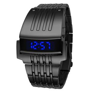 패션 남성 시계 스틸 골드 블루 디지털 LED 럭셔리 군사 시계 스포츠 드레스 손목 시계 Relogio Masculino 드롭 배송