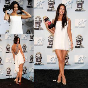 Tapete Vermelho Sexy Cor Branco celebridade Megan Fox Vestido Curto Mini Prom vestido de festa vestido