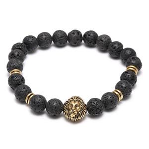 Lava Naturstein Elastic Volcanic Rock Charm Armbänder Lion Head Beads Charms Armbänder Gebetskette Armband Handgefertigte Diffusor Schmuck