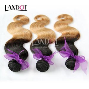 Ombre Indian Body Wave Virgin Estensioni dei capelli umani Two Tone 1B / 27 # Honey Blonde Ombre Indian Corpo Ondulato Remy Capelli umani Tesse 3 Bundles