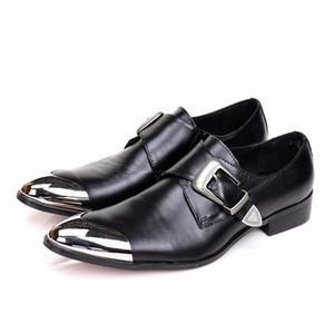 Erkekler Elbise Ayakkabı Ofis Iş Hakiki Deri Ayakkabı Sivri Burun Erkekler Oxfords Düğün Monk Askı Ayakkabı Mens Flats