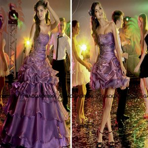 Charming Brazil Girl Party quinceanera dresses Sexy Backless ruffles skirt detachable two pieces purple 15 sweet girls dress
