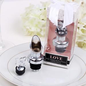 10 unids AMOR Chrome Pourer Bottle Stopper con caja de regalo ducha nupcial favores de la boda fiesta de vino regalo de Navidad