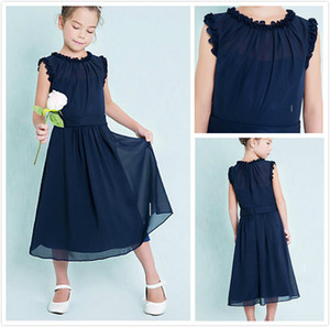 Abiti da damigella d'onore junior blu scuro a buon mercato Colonna gioiello senza maniche A-Line Ruffles Zipper Back Flower Girl Dresses for Wedding