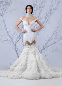 2021 mais novo casamento do espartilho da sereia alta pescoço Vestidos de casamento completa Beading Vintage Vestidos Beidal Vestidos