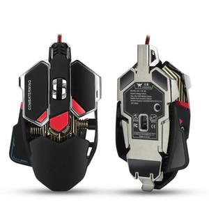 Ratones de juego portátil 4800 DPI Optical USB Ratón de juego profesional con cable Programable 10 botones RGB Respiración LED Ratones 1pcs / lot