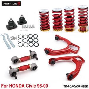 Tansky - Bracci di controllo inferiori posteriori + Kit di camber anteriore + Molle autotelaio ribassate rosse (adatto per Honda Civic) TK-FCACASP-02EK