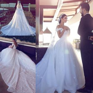 Mhamad 공 가운 웨딩 드레스 어깨 레이스 해제 Applique 대성당 기차 흰색 상아 웨딩 드레스 무료 베일과 신부 가운