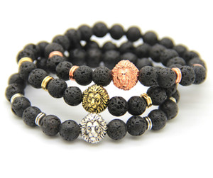 Venda por atacado Hot Mens jóias 8 mm preto Lava energia Stone Beads Antique Silver Lion Head pulseiras para presente do partido