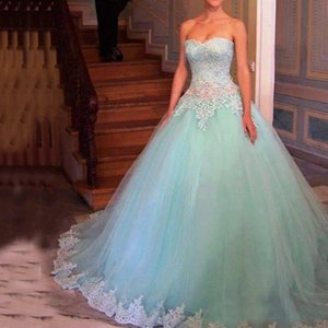 Sweet 16 Dresses Mint Ball Gown Strapless Sweetheart Sleeveless Lace Top Appliques Soft Tulle Beaded Crystals Waist Prom Gowns