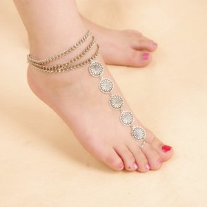 Chunky 다층 체인 라운드 꽃 슬레이브 Anklets 선물에 발목 팔찌 다리에 맨발 샌들 발 보석