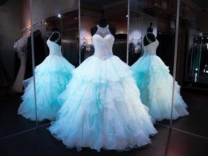 2020 Blue Ball Gown Quinceanera Dresses Beaded Pearls Corset Organza Ruffles Jewel Neck Lace Up Back Puffy Long Prom Sweet 16 Dresses