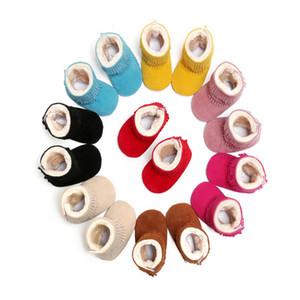 Çocuklar Kış Püskül Çizmeler Bebek Kız Katı İlk Walker Ayakkabı Yumuşak Taban Pamuk Çizmeler Caroon Prenses Prewalker