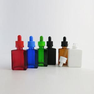 12x 30ml Leere Rot Blau Grün Frost Schwarz Bernstein Weiß Quadrat Glasflaschen Mit Glas Piepette Tropfer