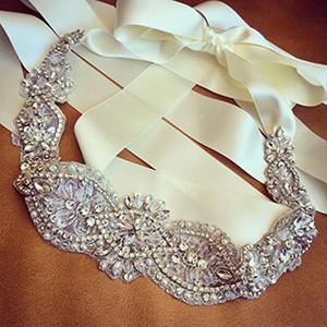 Wholesale- Wedding Sash Ivory Rhinestone Bridal Belt Pearl Wedding Accessories Handmade Free shipping(18.8x2.4inches)