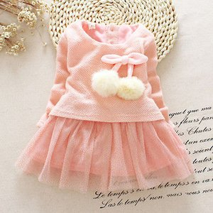 Wholesale- Autumn Winter Baby girl clothes Cute long sleeve Warm girl dress Bow Kids Toddler Tutu Party dresses