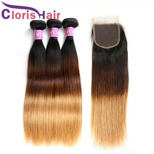 Cheap Blonde Human Hair Lace Closure With 3 Bundles Silk Straight Virgin Peruvian Ombre Weaves 1B 4 27 Colored Extensions And Top Closures