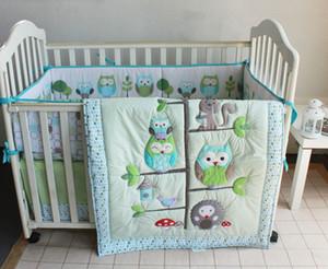 승진! 7PCS 아기 침구 세트 아기 침대 자수 퀼트 범퍼 시트 더스트 프룻 (범퍼 + 이불 + 침대 커버 + 침대 스커트)