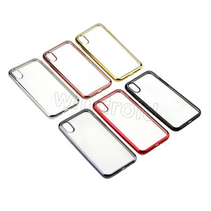 Shockproof Ultra Thin Slim Electroplate Plating Soft TPU Silicone Clear Cover Case For iphone X 6 colors Free shipping by DHL 100pcs