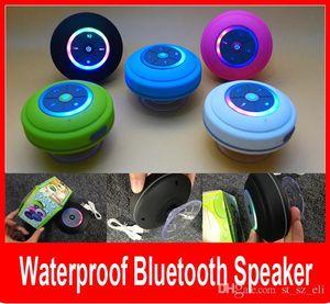 Nuevo Portable Colorfull LED Impermeable Inalámbrico Altavoz Bluetooth Ducha Coche Manos libres Recibir llamada mini Altavoces de teléfono de succión