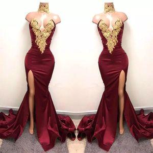 2017 New Sexy Borgogna africana Prom Dresses Usura da sera Mermaid Gold Lace Appliqued Front Split 2K18 Elegante abiti da sera formale del partito