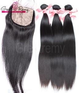 4 teile / los Gerade Brasilianisches Haar mit Silk Basis Top Closure Babyhaar Brasilianische Reine Bundles mit Spitzeschliessen Menschliches Haar Greatremy