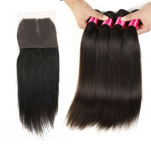 Малайзийские волосы прямо с закрытием 3шт пучки волос с закрытиями бесплатно или средней части 7а необработанные бразильские прямые волосы с закрытием