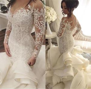 2021 Vintage luxe robe boule robe de mariée sirène Ruffles V-Neck main fond de verre Traîne Robe de Noiva Custom Made