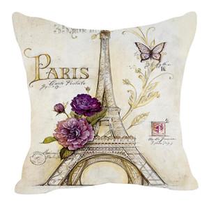 All'ingrosso-Retro Style Sketch Parigi Torre Eiffel Vita Pillow Case Pillow Cover Tiro Cuscino Decalcomania di Lino Miscela Metereial Drop Shipping