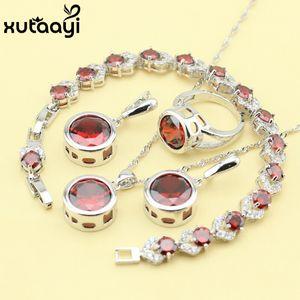 Red Criado Garnet Moda 925 Conjuntos de Jóias de Prata Para As Mulheres Fascinantes Colar de Casamento Anéis Brincos Pulseira