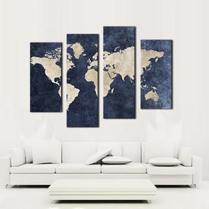4 pannelli blu mappa tela pittura mappa del mondo con Mazarine sfondo foto stampa su tela wall art per la casa moderna decorazione