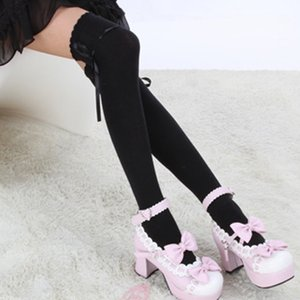 2017 Hot Sale Fashion Women Bow Over Knee Thigh High Soft Cotton stretch Socks Long Knitted Boot Hosiery Party Vaction Socks