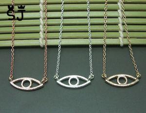 10 STÜCKE-N051 Gold Silber Hamsa Hand Evil Eye Halskette Offene Linie Devil Eye Halsketten Einfache Glücklichen Türkischen Augen Halskette