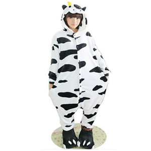 Sleepwear Fleece Unisex Adulto Adulto Animali adorabili Onesies Dairy Milk Pigiamas Cow Onesie Sleepsuit Furry Cosplay Cow Cow Cartoon Bella Latte Salto NFSA