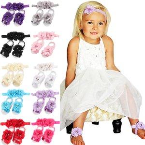 14colors Bebek Barefoot Sandalet + çiçek seti Bebek yaz fotoğraf düz renk seti Ayak Flower çorapları baş bandı çocuk aksesuarları sahne