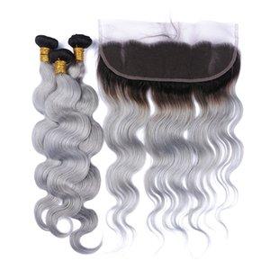 Péruvien # 1B / Gris Ombre Cheveux Avec Frontaux 4Pcs Lot Body Wave 13x4 Pleine Dentelle Frontale Avec Tissage Argent Gris 3Bundles Avec Frontals