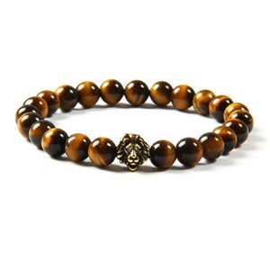 Wholesale 10pcs lot Antique Gold And Silver Cz Lion Head With 8mm Natural Tiger Eye Stone Beads Bracelets