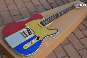 Custom Shop Buck Owen Limited Edition TELE 1996 Red White Blue Big Sparkle Electric Guitar Gold Pickguard Golden Hardware