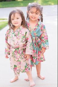 Kinder Baumwolle Floral Kimono Robe Bademantel Blume Kinder Nachthemd für Spa Party Hochzeit Geburtstag