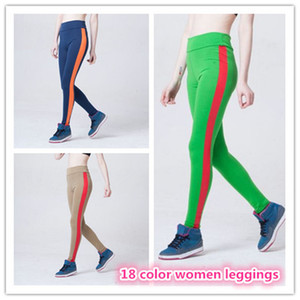 Wholesale 18 color women yoga leggings tight fit leggings sport yoga pants Elastic Fitness Gym Clothing Tights Sportswear out313