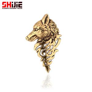 Kadın erkek yaka iğnesi kurt yaka Toptan-Marka bağbozumu altın gümüş Broşlar takı moda Broş iğneler Bijoux broche cristal broches