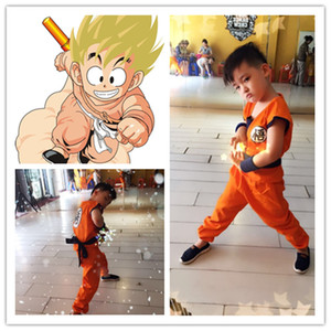 2016 disfraces de Halloween Dragon Ball Z DBZ Son Goku Cosplay ropa Cosplay para niños Top / Pant / Belt / Tail / Wrist CS002
