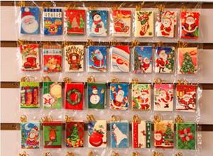 Yeni Tasarım Noel Tebrik Kartları Noel Kartı Yaratıcı Sevimli Noel Dilek Kartı Noel Ağacı Süsler Iyi Hediyeler 128 adet / grup