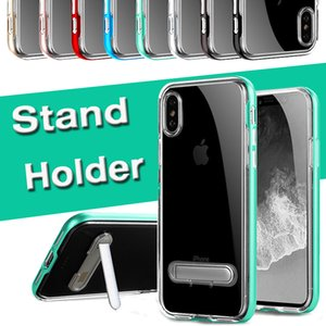 Standı Tutucu Çerçeve Kapak Hard Case For iPhone 11 Pro Max XS XR X 8 7 6 6S Artı Samsung Galaxy ile 1 Temizle TPU + PC Darbeye 2 Hibrit