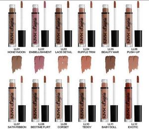 NYX labios lencería líquida Matte Lip Cream Lipstick 12 colores con Encanto Long-lasting Brand Lipstick Lápices labiales envío gratis