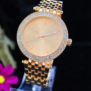 Moda de lujo reloj de cuarzo casual de doble fila de lujo Crystal Diamond Modern elegante traje mayor reloj de mujer fábrica al por mayor envío gratuito