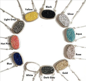 11 Colors Silver Plated Cute Faux Quartz Oval Pendant Geometric Resin Druzy Choker Necklace Jewelry for Women