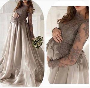 A line sleeve Gray Silver Lace Organza floor length Evening Dresses maternity For Pregnant Women Elegant Dubai Arabic Dresses Prom long