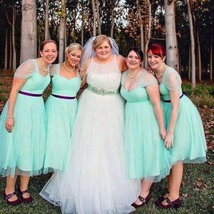 Plus Size Abiti da damigella d'onore 2016 Verde menta Tulle Abiti da festa da sposa Sweetheart Cap Sleeves Tea Length Sash Maid of Honor Dress